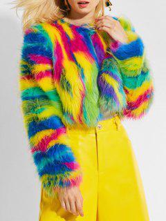 Veste Courte Texturée Colorée En Fausse Fourrure - Multi Couleur
