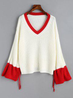 Two Tone Drawstring Sleeve V Neck Sweater - White