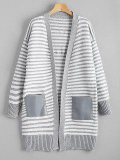 Patch Striped Cardigan - Grey And White