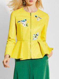Zip Up Ruffles Faux Leather Jacket - Yellow S