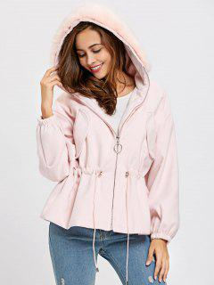 Zip Up Textured Hooded Jacket - Pink