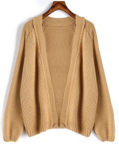 Raglan Sleeve Open Front Loose Cardigan - Camel