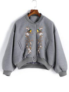 Snap Button Embroidered Wool Blend Jacket - Gray