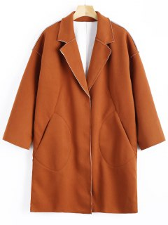 Pockets Longline Wool Blend Coat - Brown S