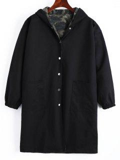Abrigo Con Capucha Reversible - Negro