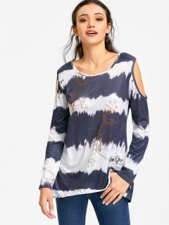 Striped Tie-dyed Print Cold Shoulder T-shirt - S