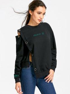 Grommet Insert Asymmetrical Move It Sweatshirt - Black M