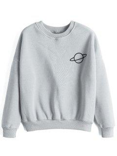 Planet Drop Shoulder Sweatshirt - Gray