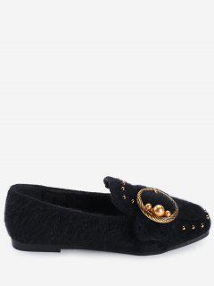 Studs Faux Gem Ring Buckled Flat Shoes - Black 39