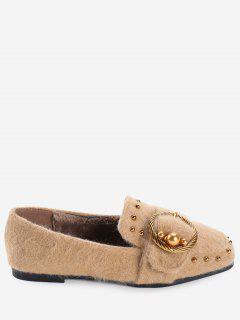 Studs Faux Gem Ring Buckled Flat Shoes - Apricot 36