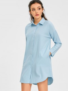 Vertical Striped Shirt Dress With Pocket - Light Blue M
