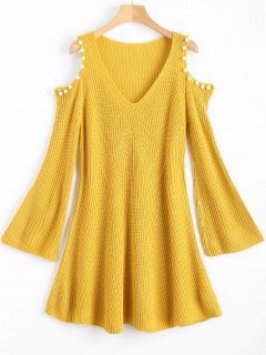 Beaded Cold Shoulder Sweater Dress - Yellow