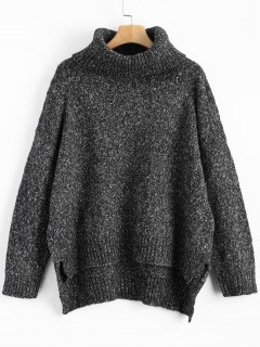 Heathered Oversized Turtleneck Sweater - Black Grey