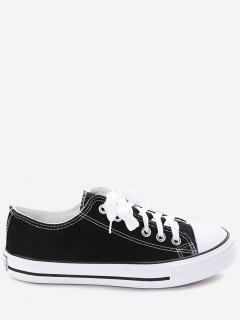 Stitching Lace Up Canvas Shoes - Black 40