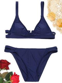 Ensemble De Bikini Paddé à Bretelles à Col Rond  - Bleu Violet S