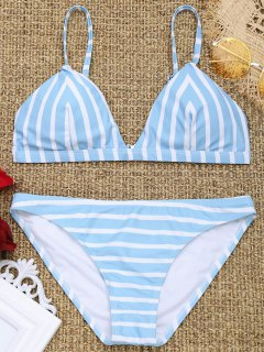 Chevron Striped Padded Cami Bikini Set - Blue And White S