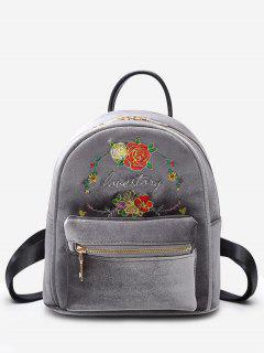 Florals Embroidery Letter Backpack - Gray