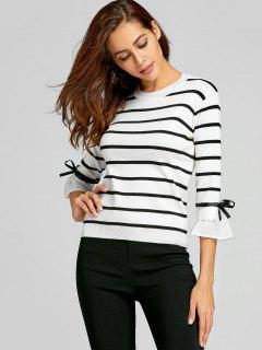 Flare Sleeve Bowknot Striped Knitwear - White