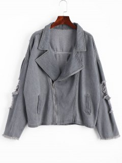 Vintage Distressed Denim Jacket - Gray M