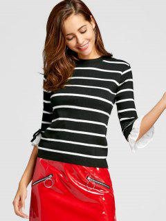 Flare Sleeve Bowknot Striped Knitwear - Black