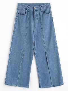 High Waisted Front Slit Wide Leg Jeans - Denim Blue L