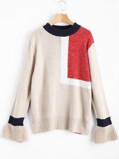 Patchwork Tunic Sweater - Light Khaki