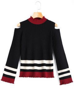 Mock Neck Stripe Cold Shoulder Sweater - Black