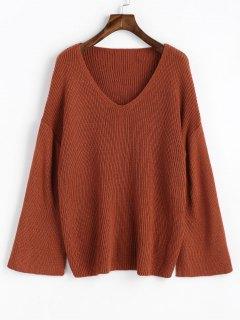 Pullover Open Sleeve V Neck Sweater - Dark Auburn