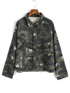 Floral Snap Button Camouflage Jacket - Army Green S