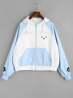 Zip Up Cute Puppy Jacket - Blue And White