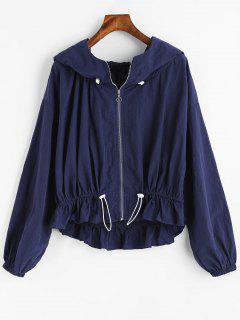 Drawstring Zip Up Ruffles Jacket - Purplish Blue S