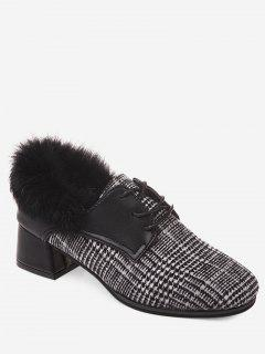 Plaid Faux Fur Chunky Heel Ankle Boots - Black 39