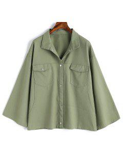Kimono Sleeve Snap Button Jacket - Army Green