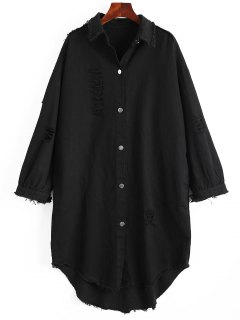 Patch Distressed Denim Coat - Black