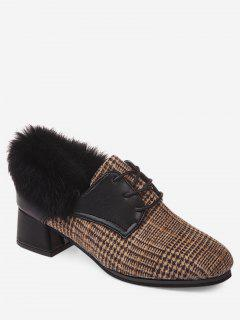 Plaid Faux Fur Chunky Heel Ankle Boots - Brown 36