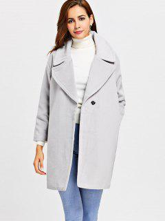 Snap Button Lapel Wool Blend Coat - Light Gray M