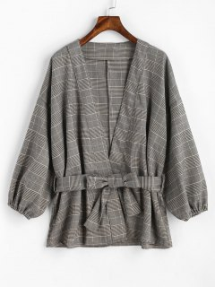 Belted Plaid Kimono Coat - Checked
