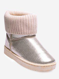Low Heel Metallic Snow Boots - Beige 40