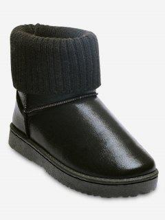 Low Heel Metallic Snow Boots - Black 36