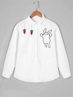 Chemise Brodée à Carreaux De Lapin à Manches Longues - Blanc
