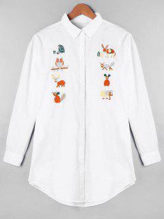Cartoon Embroidered Longline Oversize Shirt - White