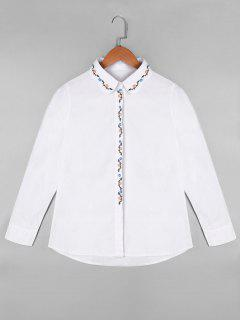 Long Sleeve Floral Embroidered Shirt - White