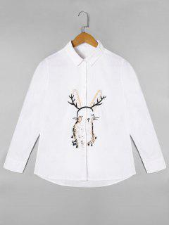 Cartoon Embroidered Long Sleeve Shirt - White