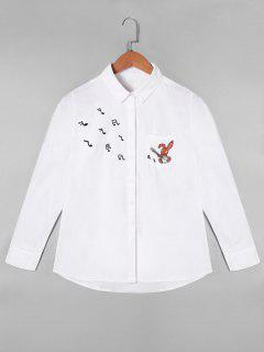 Cartoon Musical Note Embroidered Shirt With One Pocket - White