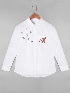 Chemise à Note Musicale Brodée Avec Une Poche - Blanc