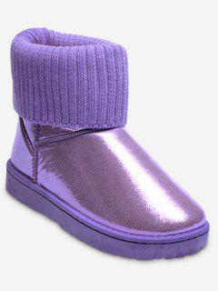 Low Heel Metallic Snow Boots - Purple 36