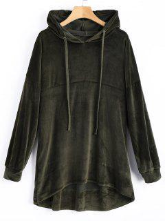 Velvet Tunic Hoodie - Army Green S