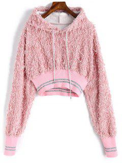 Drawstring Textured Cropped Hoodie - Pink