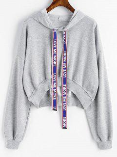Letter Drawstring High Low Cropped Hoodie - Gray