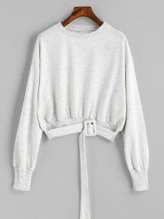 Loose Belted Heathered Sweatshirt - Light Gray